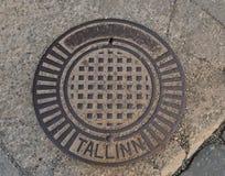 Sign in Tallinn. Round sign in Tallinn, Estonia Stock Photos