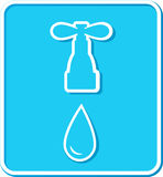Sign with tap and water drop Royalty Free Stock Photography