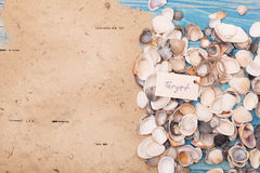 Sign target with shells. Vocation background Royalty Free Stock Images