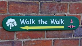 A sign telling visitors which way to walk at Arley Arboretum in the Midlands in England stock image
