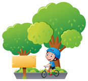Sign template with boy on bike. Illustration Royalty Free Stock Image