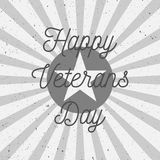 Sign Template with Happy Veterans Day Text. Vector Illustration Stock Photography