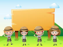 Sign template with kids in safari outfit royalty free illustration