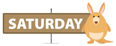 Sign template for Saturday with kangaroo Royalty Free Stock Image