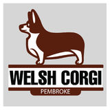 Sign template with Welsh Corgi standing in profile Royalty Free Stock Photography