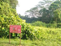 Sign at Tengah forest. Red sign shows protected area for military use in Singapore, printed in four official languages Stock Photos
