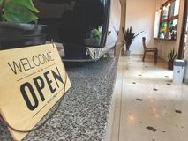 Sign text inform welcome on cafe near coffee machine. Relaxing time on cafe royalty free stock photo