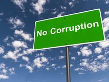 """No corruption sign. A sign with the text """"no corruption Stock Photo"""