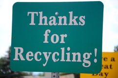 Sign 'Thank You For Recycling'. Waste , trash , garbage Recycling sign Royalty Free Stock Photography