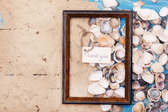 Sign Thank you with shells and photo frame. Vocation background Stock Photo