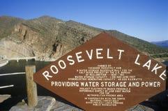 Sign at Theodore Roosevelt Dam at Theodore Roosevelt Lake, AZ Stock Photo