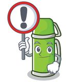 With sign thermos character cartoon style vector illustration