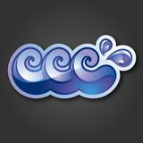 The sign - three purple and blue waves with drops. Stock Images