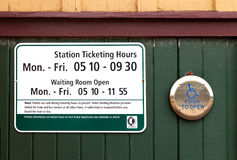 Sign in Ticket Office. Sign with Opening Hours in a Ticket Office Royalty Free Stock Images