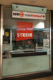 Sign at a ticket shop about the strike in Cologne Royalty Free Stock Photos
