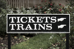 Sign for tickets and trains Stock Images