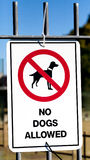 Sign Tied to Fence Stating NO DOGS ALLOWED Stock Photography