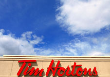Sign of the Tim Hortons restaurant Royalty Free Stock Images