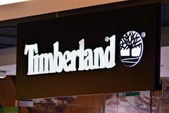 Sign Timberland. Company signboard Timberland. stock image