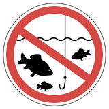 Sign time of spawning, fishing is prohibited, fish not to catch. The vector sign of crossed out red circle with a fish and a fishing rod Stock Photography