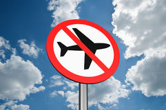 Sign to ban flights Royalty Free Stock Image