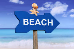 Sign to the beach and sea in summer on vacation Stock Image