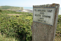 Sign to Birling Gap on South Downs Way, nr Eastbou Stock Photo