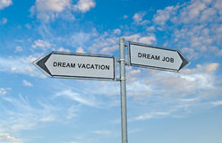 Sign to dream vacation and dream job. Road Sign to dream vacation and dream job Royalty Free Stock Image