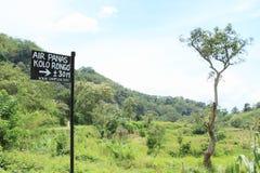 Sign to hot spring on Kelimutu Stock Photos