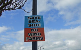 Sign to no wind farms in Swanage Dorset Royalty Free Stock Photos