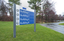 Sign to office buildings. Complex in industrial park Stock Photo
