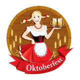 The sign to the Oktoberfest beer festival. The sign to the beer festival Oktoberfest girl with beer mugs Stock Photography