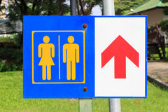 Sign to the restroom Stock Photography