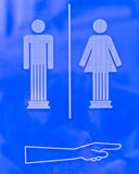 Sign to the restrooms. Stock Images