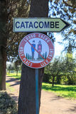 Sign to Roman Catacombs Stock Photography