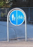 Sign to separate promenade and biking area Stock Photos
