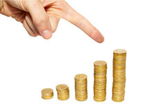 Sign to the top of money. Stock Images