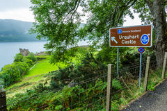 Sign to Urquhart castle. Loch Ness, Urquhart Castle, Scotland, UK  - September 20, 2014: Historic Scotland sign to Urquhart Castle. This landmark is situated in Stock Photo