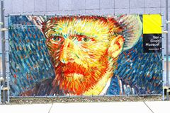 Famous self portrait of Vincent van Gogh and museum sign, Amsterdam Stock Images