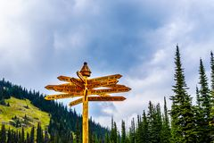 Sign on Tod Mountain at Sun Peaks village, in British Columbia, Canada. That shows distances to some well known mountains in the world royalty free stock images