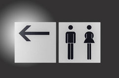Sign. Toilet sign with arrow ,isolated background Stock Image