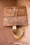 The sign for toilet in Morocco in Ait-ben-Haddou. A fortified city, or ksar, along the former caravan route between the Sahara and Marrakech in present-day Royalty Free Stock Photography