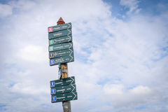 Sign at the top of Mount Ulriken. Directions at the top of the Mountain Royalty Free Stock Images