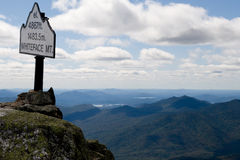 Sign on top of mountain. Sign on top of Whiteface Mountain lookout with elevation Royalty Free Stock Images