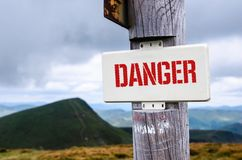 Sign of the top of the mountain. Danger stock photo