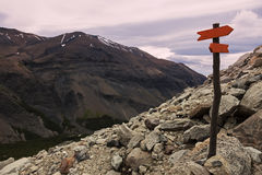 Sign in Torres del Paine Stock Photo