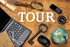 Sign Tour, Laptop, Key, Globe, Compass, GSM Phone, Letter, Magni Royalty Free Stock Image