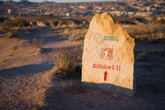 Sign of tourist path in Cappadocia Stock Images