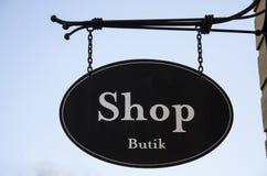 A sign of tourist shops. Stock Photos