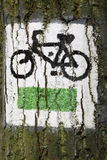 Sign of touristic bike trail. Stock Image